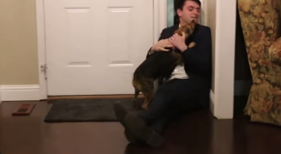 Dog reacts to return of Nathan after two year Mormon mission - YouTube (3)