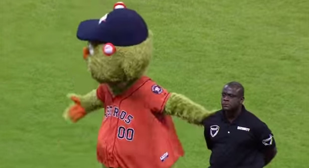 Orbit, Houston Astro's mascot clash a security guard... - YouTube (5)