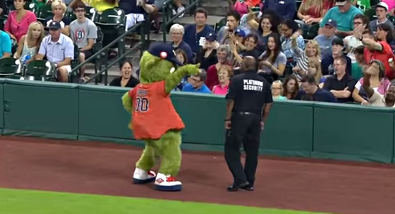 Orbit, Houston Astro's mascot clash a security guard... - YouTube