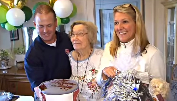 Forth Worth Woman Celebrates Her 104th Birthday With a Dr. Peeper Cake - YouTube (1)